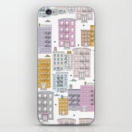 Manhattan brownstones New York travel pattern iPhone Skin