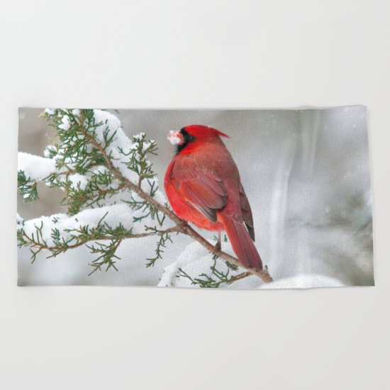 Snow on His Face (Northern Cardinal) Beach Towel