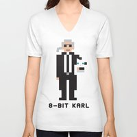 karl lagerfeld V-neck T-shirts featuring 8 Bit Karl by 8 Bit Icons