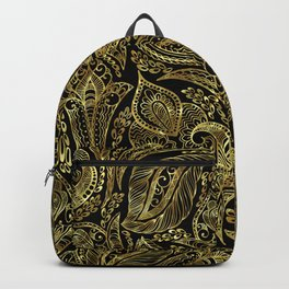 Black and gold ethnic paisley pattern Backpack