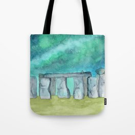 Stonehenge Galaxy watercolor Tote Bag