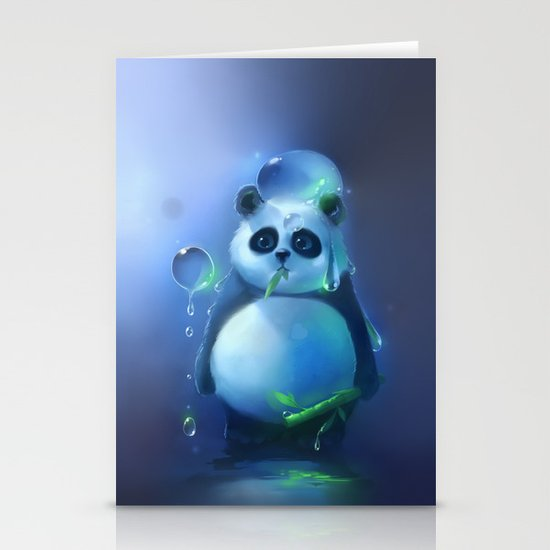 aqua panda Stationery Cards