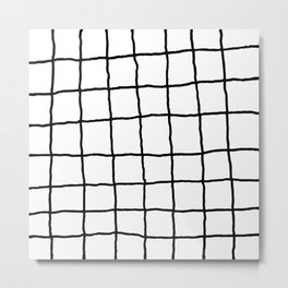 Shaky Grid - White Metal Print
