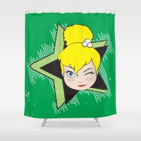 tinker bell Shower Curtains featuring I Am Smart - Tinker Bell by AmadeuxArt