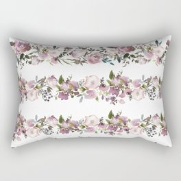 Girly pink lilac teal watercolor floral stripes pattern Rectangular Pillow