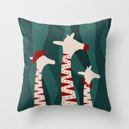 Giraffes Family Holiday Design Throw Pillow
