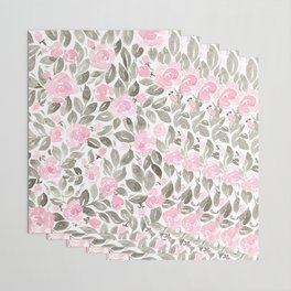 """Loose watercolor florals in pink and grey, """"Miriam"""" Wrapping Paper"""