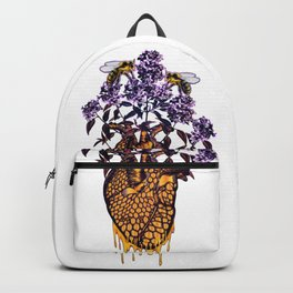 HeART of Honey With Lilacs and Bumble Bees Backpack