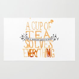 A Cup of Tea Solves Everything  Rug