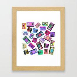Retro 80's 90's Neon Patterned Cassette Tapes Framed Art Print