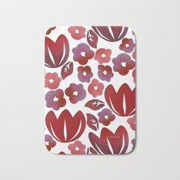 Red Blooms Bath Mat