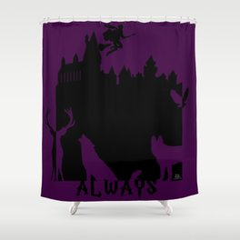 Potter clock and patronus group  Shower Curtain