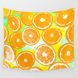 juicy orange pattern abstract with yellow and green background Wall Tapestry