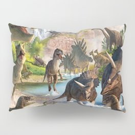 Jurassic dinosaurs in the river Pillow Sham