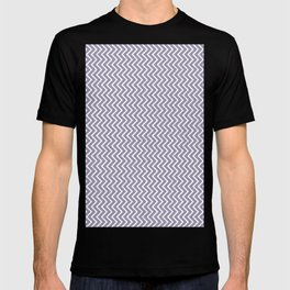 Lilac-gray and white chevrons with texture T-shirt
