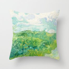 Green Wheat Fields - Auvers, by Vincent van Gogh Throw Pillow