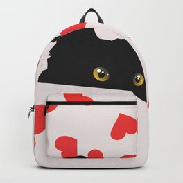 Black Cat Hiding in Hearts Backpack
