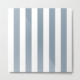 Cadet grey - solid color - white vertical lines pattern Metal Print