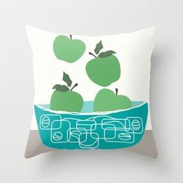 Bowl of green apples  Throw Pillow