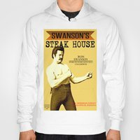 parks and recreation Hoodies featuring Ron Swanson  |  Steak House Parody |  Parks and Recreation by Silvio Ledbetter