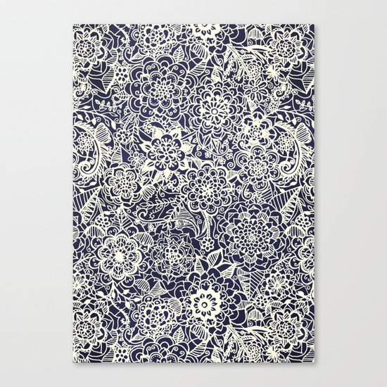 Lace on Nautical Navy Blue Canvas Print