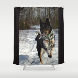 The pure happiness and exuberance of a dog.  Shower Curtain