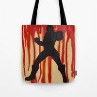 power ranger Tote Bags featuring Red Power Ranger by Oksana's Art
