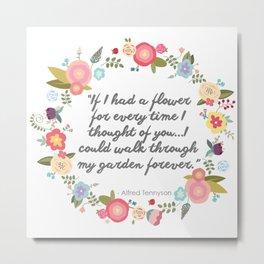 Floral Friendship Quote Metal Print