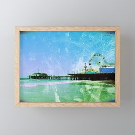 Blue and green Santa Monica Pier Framed Mini Art Print