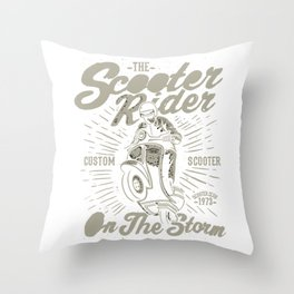 The Scooter Rider Throw Pillow