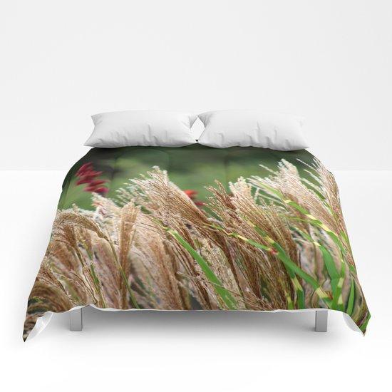 Peaceful Wild Grass Comforters