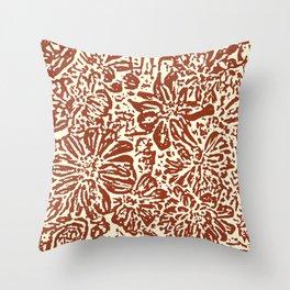 Marigold Lino Cut, Sepia Throw Pillow
