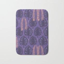 Purple monstera pattern. Bath Mat