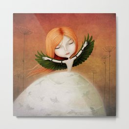 girl with wings and birds Metal Print