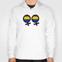 lesbian Hoodies featuring Lesbian Sign by Piensa Gay