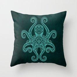 Intricate Teal Blue Octopus Throw Pillow