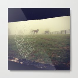 Horses and Fog Metal Print