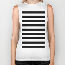 Midnight Black and White Stripes Biker Tank