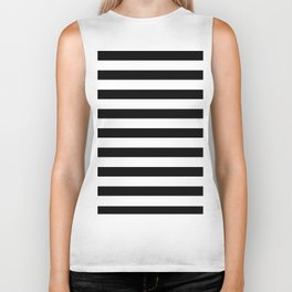 Midnight Black and White Stripes Biker Tank