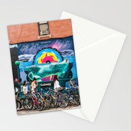 Brooklyn Subway with Street Art and Bicycles. Stationery Cards