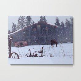 Hatfield Farms in Winter Metal Print