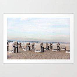 Seaside Beach Cabanas Art Print