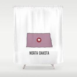 North Dakota State Heart Shower Curtain