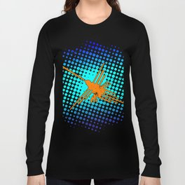 Distressed Nazca Lines Hummingbird On Gradient Blue Galaxy Long Sleeve T-shirt