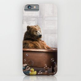 Bear with Rubber Ducky in Vintage Bathtub iPhone Case