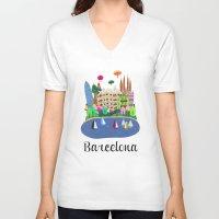 barcelona V-neck T-shirts featuring Barcelona  by uzualsunday