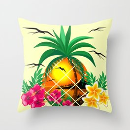 Pineapple Tropical Sunset, Palm Tree and Flowers Throw Pillow