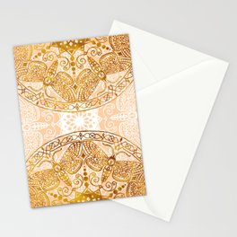 Bees Golden Mandala and Peach Stationery Cards