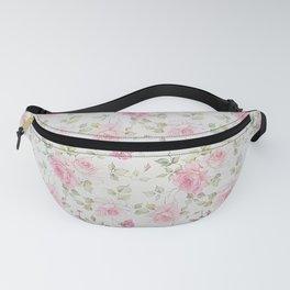 Elegant blush pink white vintage rose floral Fanny Pack