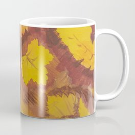 Yellow Autumn Leaf and a red pear painting Fall pattern inspired by nature colors Coffee Mug